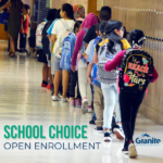 """Students walking down hallway and text """"School Choice Open Enrollment"""""""