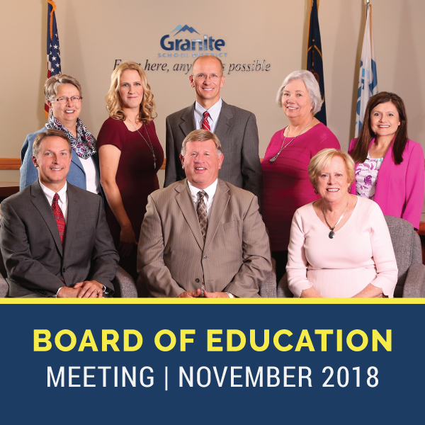 """Granite Board of Education and text 'Board of Education Meeting   November 2018"""""""