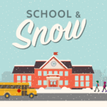 vector of school in snowy weather and text 'School & Snow'
