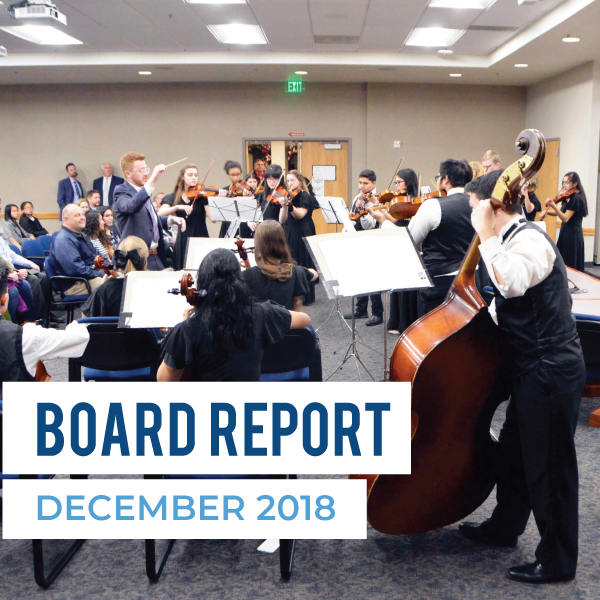 "Cyprus High orchestra performs at board meeting and text ""Board Report December 2018"""