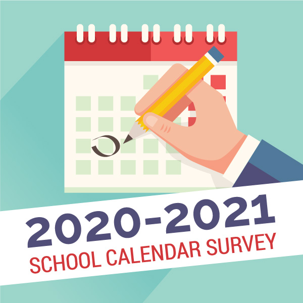 Vector drawing of hand and calendar and text '2020-2021 School Calendar Survey'