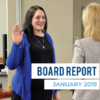 Nicole McDermott takes the Oath of Office and text 'Board Report January 2019'