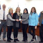 Monroe Elementary teachers holding MGP cup