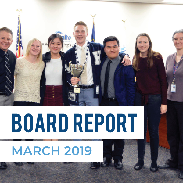 Hunter High School recognized during board meeting and text 'Board Report March 2019'