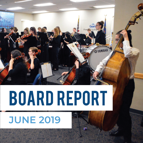 Granite Youth Symphony performs at board meeting and text 'Board Report June 2019'