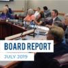 Board members at board meeting and text 'Board Report July 2019'