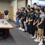 Cottonwood High baseball team at board meeting