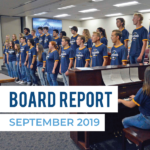 Taylorsville Madrigals perform at board meeting with text 'Board Report September 2019'