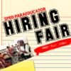 Teacher working with students in wheelchair and text 'Sped Paraeducator Hiring Fair Food Fun Prizes!'