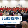 Magna Elementary students sing at board meeting and text 'Board Report October 2019'