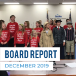 Crestview Elementary students perform at board meeting and text 'Board Report December 2019'
