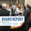 Soccer players shake hands with board members, and text 'Board Report January 2020'
