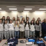Skyline girls soccer team at board meeting