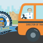 Graphic vector of school bus driver and badge and text 'School Bus Rides with Dave'
