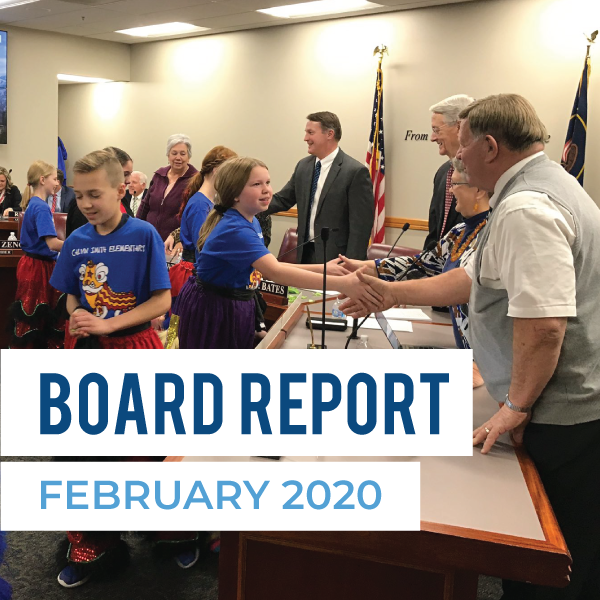 Calvin Smith Elementary students shake hands with board members and text 'Board Report February 2020'