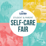 Four colored photos os students in various activities and text 'Student & Parent Self-Care Fair'