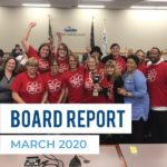 Roosevelt Elementary staff holding trophy at board meeting and text 'Board Report March 20202'
