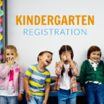 Kindergarten students lined up next to a smart board and text 'Kindergarten Registration'