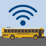 Vector bus with wi-fi symbol