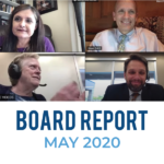 Screen capture of board members meeting virtually