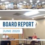 Screenshot of board members in meeting room and text 'Board Report June 2020'