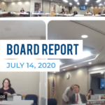 Board of education digital meeting snapshot and text 'Board Report July 14, 2020'