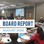 Citizen addressing board of education and text 'Board Report August 2020'