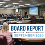 Millcreek representative presenting at board meeting and text 'Board Report September 2020'