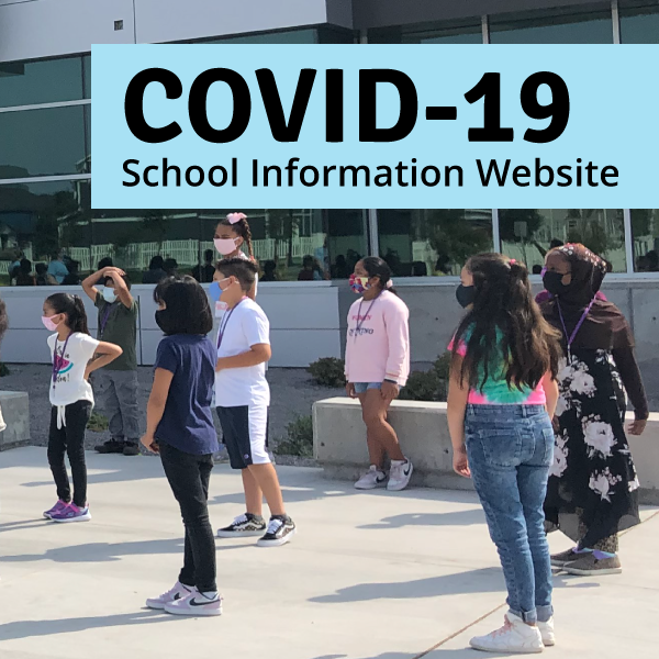 Students standing outside of school and text 'Covid-19 School Information Website'