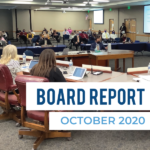 Board members hear a presentation and text 'Board Report October 2020'