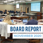 "Board members listen to presentation. Text: ""Board Report November 2020"""