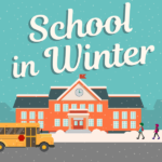 Vector illustration of school building in snowy weather and text 'School in Winter'
