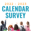 Students pointing at words '2022-2023 Calendar Survey'