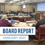 Board members listen to presentation and text 'Board Report January 2021'