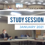 Board members discuss topic during study session and text 'Study Session January 2021'