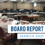 Board members listen to presentation and text 'Board Report March 2021'