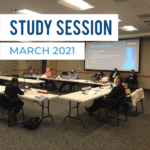 Board members listen to presentation in board room and text 'Study Session March 2021'
