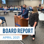 Ben Horsley and Alison Milne address board of education and text 'Board Report April 2021'