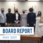 Olympus High athletes recognized at board meeting and text 'Board Report May 2021'
