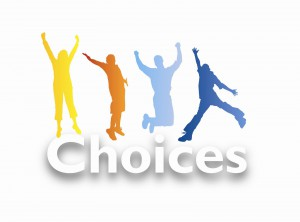 Graphic of people jumping over the word choices