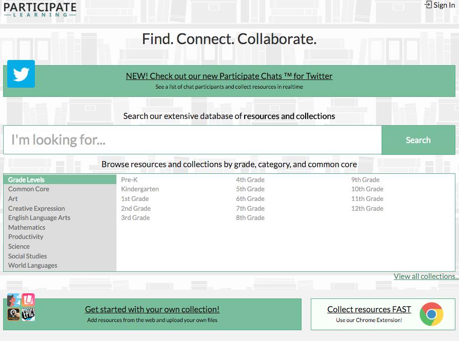 Participate Learning Main Menu Screenshot