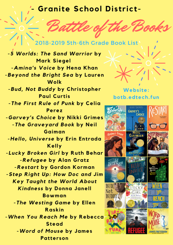 2018-2019-Granite-Battle-of-the-Books-5th-6th-Grade-Book-List-1-724×1024
