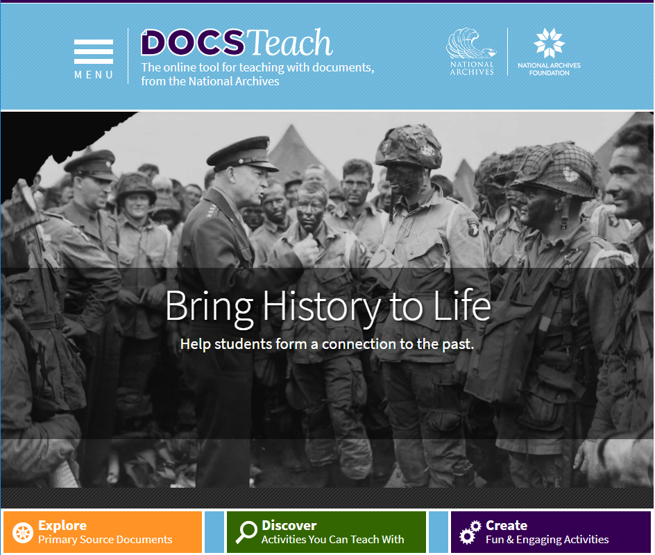 National Archives – DocsTeach Web Site – Screenshot