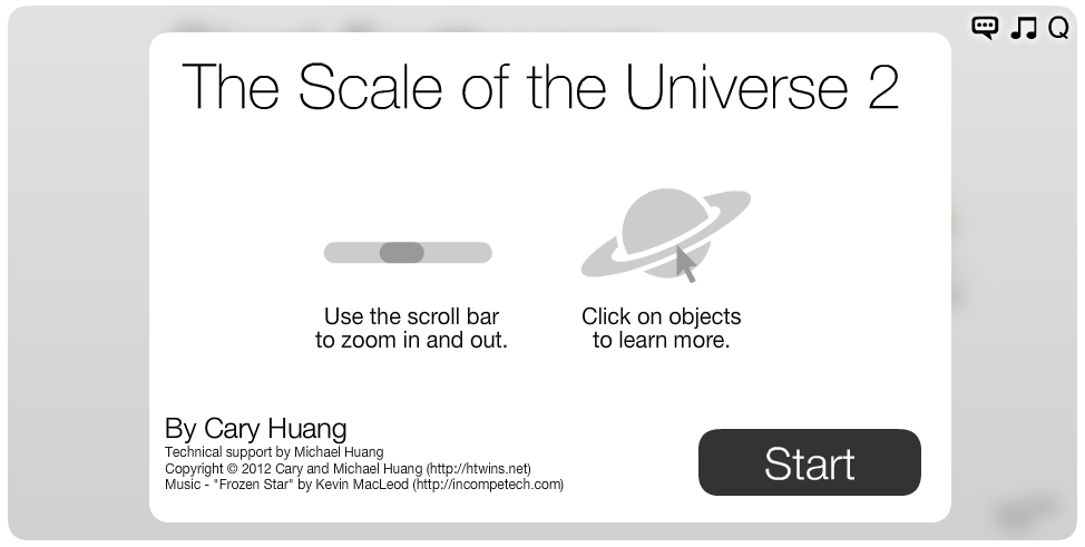 The Scale of the Univese 2 - Start Screen