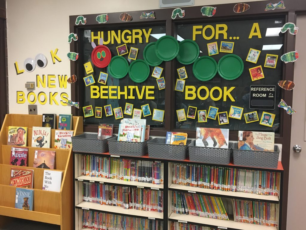 Beehive Book Award and New Books displays at Fox Hills Elementary Media Center