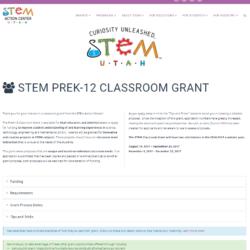 Grant: STEM Utah PreK-12 Classroom Grant