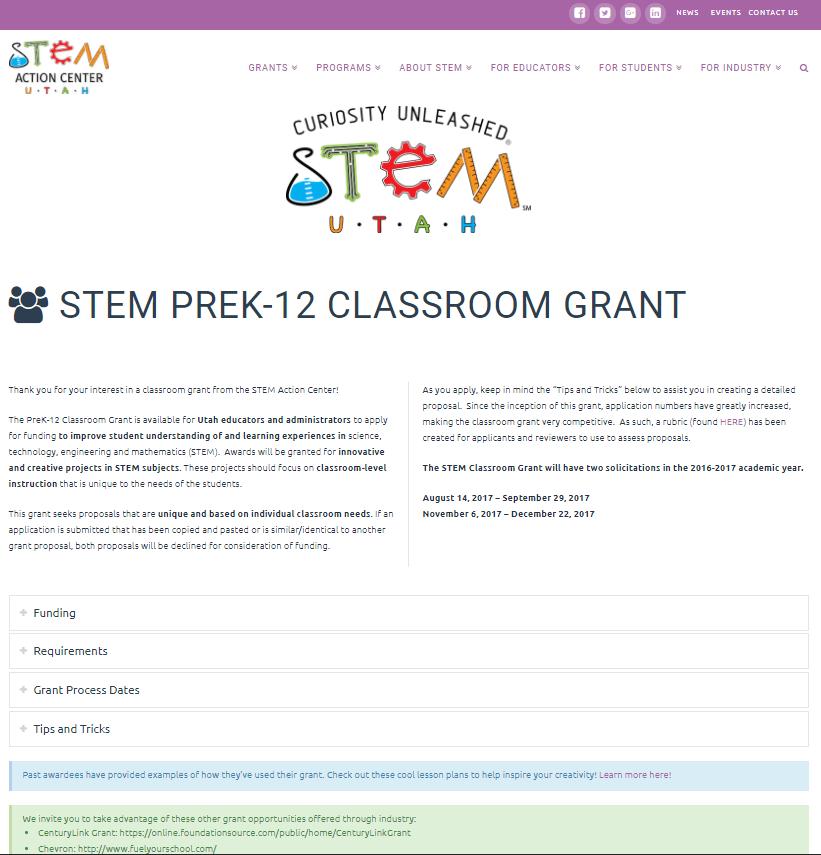 STEM Utah PreK-12 Classroom Grant - Screenshot
