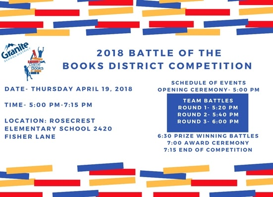Upcoming Event: Battle of the Books District Competition (Grades 5-6)