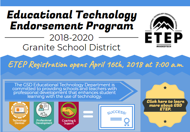 Registration Opens Soon for Educational Technology Endorsement Program, 2018-2020