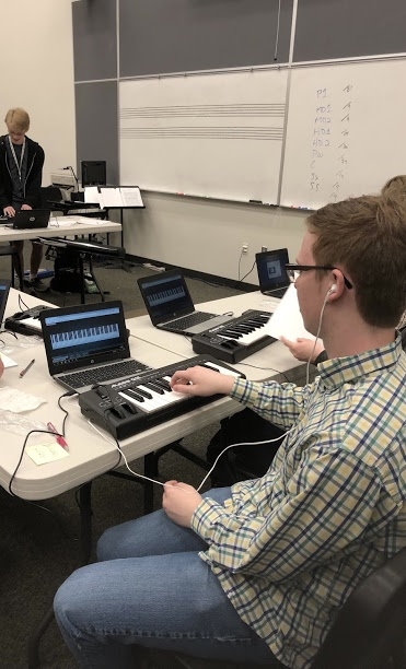 Music students utlizing USB-MIDI keyboards with Chromebooks at Olympus High School